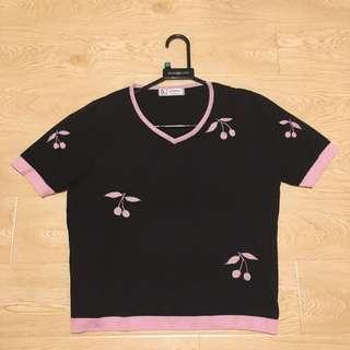 義大利品牌 黑色/粉色 針織短袖