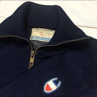 Original Vintage 1980's Navy Blue Champion Trainer Sweat Jacket Made In U.S.A Gosha Street Wear