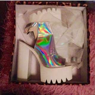 Jeffrey Campbell Style Holographic Platform Heels