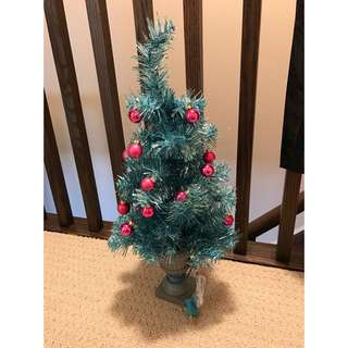 Turquoise Light Up Christmas Tree With Ornaments