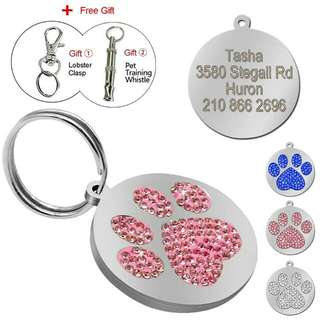 Glitter Paw Pet Id Tag For Collars With Engraving Plus Free Gift