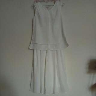 GU 白色無袖上衣&寬版長褲
