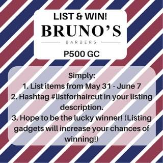 List & Win a P500 GC from Bruno's Barbers #listforhaircut Giveaway!