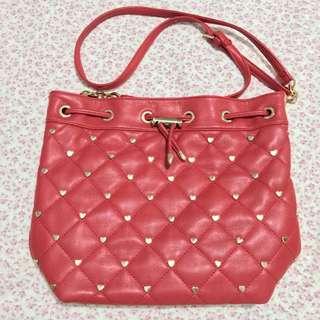 Deux Lux Heart-Studded Bucket Bag