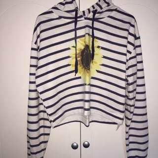 Striped Sunflower Hoodie Crop