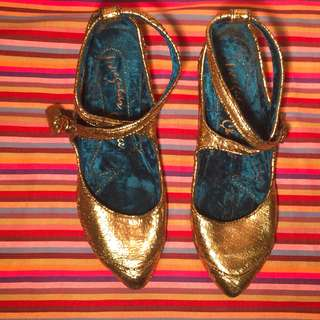 "Gold ""Irregular Choice"" pointed flats"