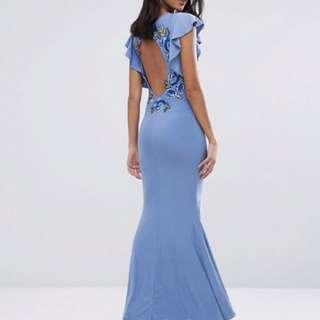 CLUB L Flute Sleeve Maxi Dress With Embroided Floral Detail