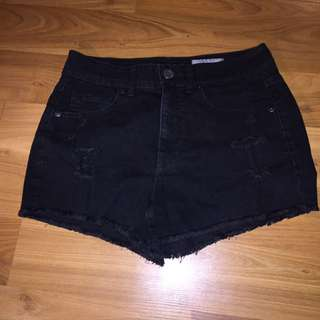 High Waisted Distressed Black Shorts