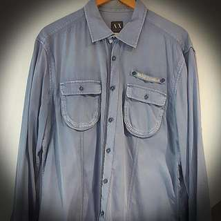 Armani Exchange Button-down Long Sleeve (Slate Blue)