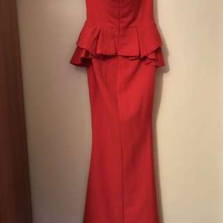 Red Bombshell Strapless Gown