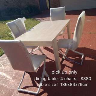 dining table+4 chairs,sample of furniture warehouse, closed down sale