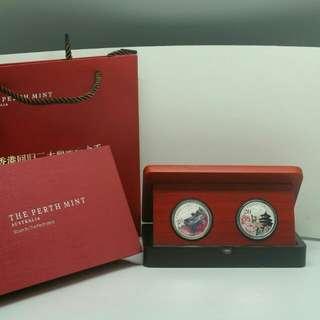 香港回歸20週年純銀紀念幣一安盎套裝