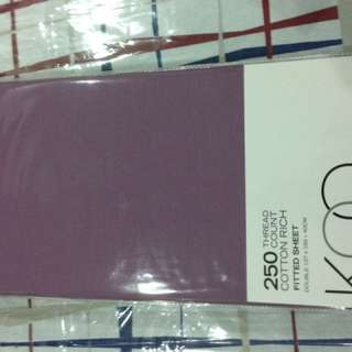 KOO Double 250 Thread Count Mauve Fitted Sheet