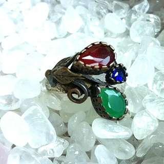 土耳其 紅藍綠鋯石復古戒指
