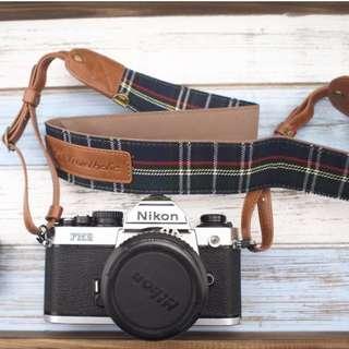 Alfalfa Atelier 旅行相機頸帶背帶 英倫風藍綠色格子