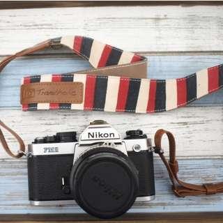 Alfalfa Atelier 旅行相機頸帶背帶 法國風條紋/黑紅白條紋