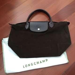 Longchamp Suede Tote (Purple Handle)