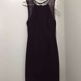 Forever New Lace Detailing Dress Size 10 - Wine/burgundy