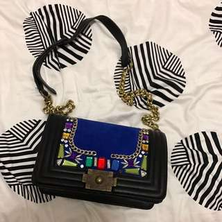 Black Boxy Bag Blue Velvet Jewelled