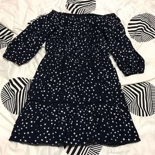 Forever New Navy Star Off Shoulder Dress