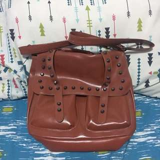 Brown Sling Bag With Studs
