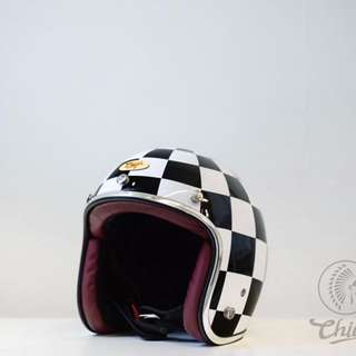 Chief Helmet Ticuna 賽車旗 黑/白 3/4 復古 安全帽 騎士 哈雷 重機 偉士牌 vespa