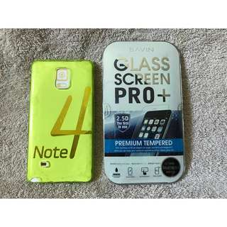 Samsung Galaxy Note 4 case & Tempered glass