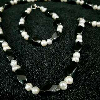 Freshwater Pearl And Magnetite Necklace And Bracelet Set