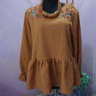 Brown Cotton Silk