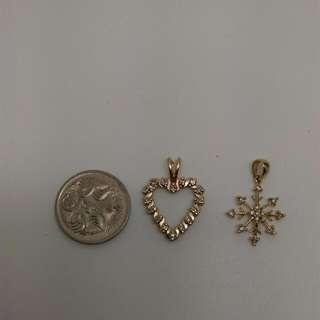 9CT/ 14CT Yellow Gold Diamond Pendants