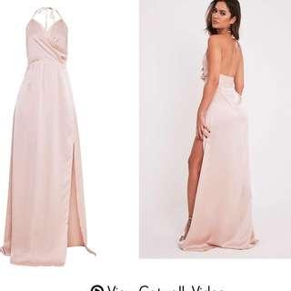 Blush Hunter Neck Silk Slit Dress
