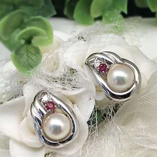 Solid 18K Gold with Genuine Pearl, Diamond and Ruby Earrings