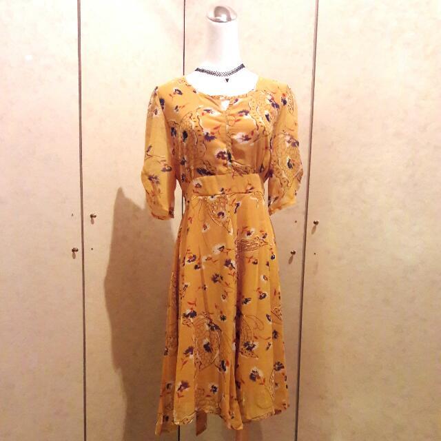 韓版2017夏季新款   黃色雪紡穗花傘狀洋裝