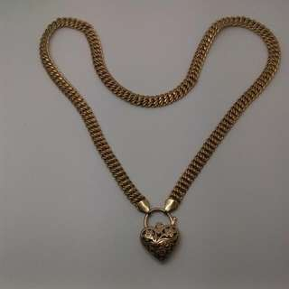 9CT Yellow Gold Heart Padlock Necklace