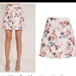 Pretty Little Thing Katelyn White Floral A Line Skirt
