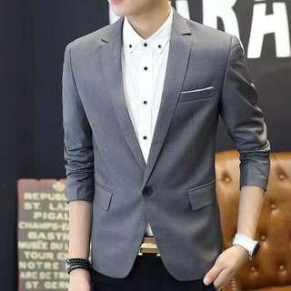 Korea Style Men's Suit/Blazer In Grey