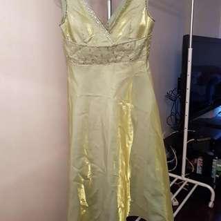 Satin V neck Midi Dress