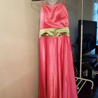 Fuschia Satin Long dress