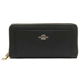 Coach Crossgrain Leather Accordion Zip Wallet Black