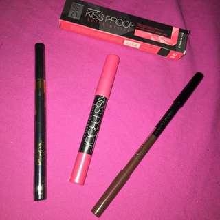 Eyelinner Pen Kylie , Pencil Alis Davis, Lip Pencil Kissproof