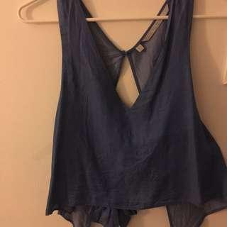 Zara Denim Backless Tie Top