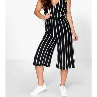Bella Wide Stripe Cullote Jumpsuit Colour: *White And Black (Not Black And White)Size:12-14