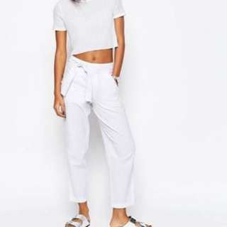 White Linen Tie Trousers
