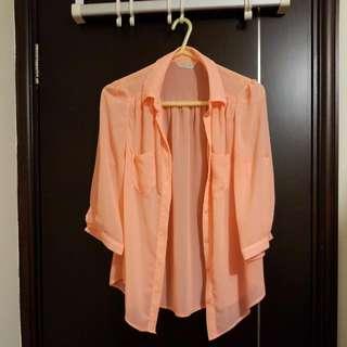 韓國瑩光粉紅裇衫