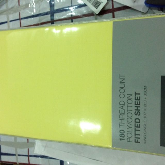 2x KS Fitted Bed Sheet 180 Thread Count yellow