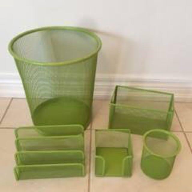 5 Piece Lime Mesh Desk Organizer Set