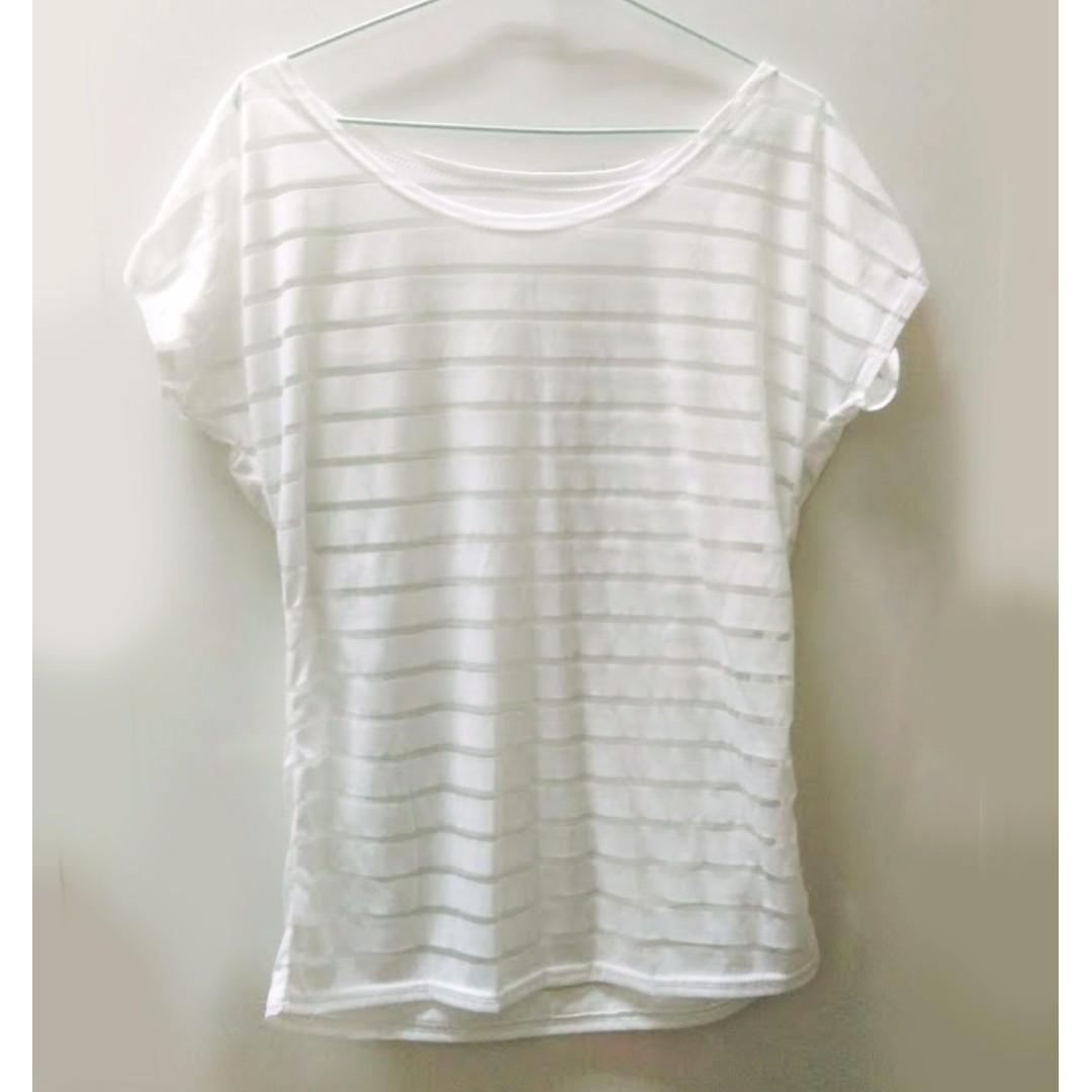 透明白條紋紗網上衣