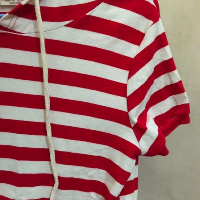 紅白條短上衣