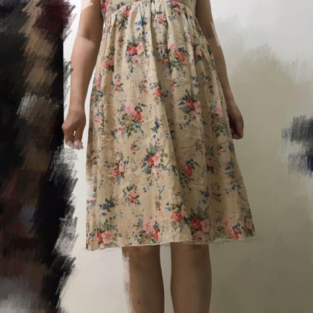 全新-文青風古著玫瑰棉紗無袖洋裝