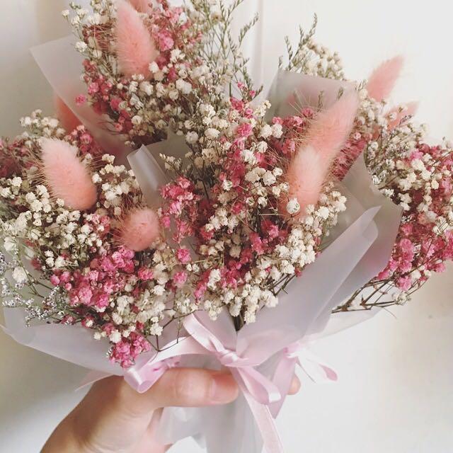 粉色緞面緞帶 乾燥花 兔尾草